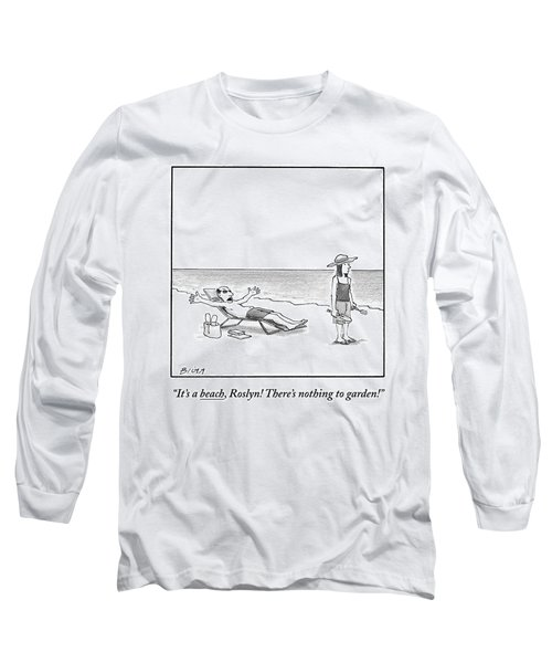 A Frustrated Man Speaks To His Wife On The Long Sleeve T-Shirt