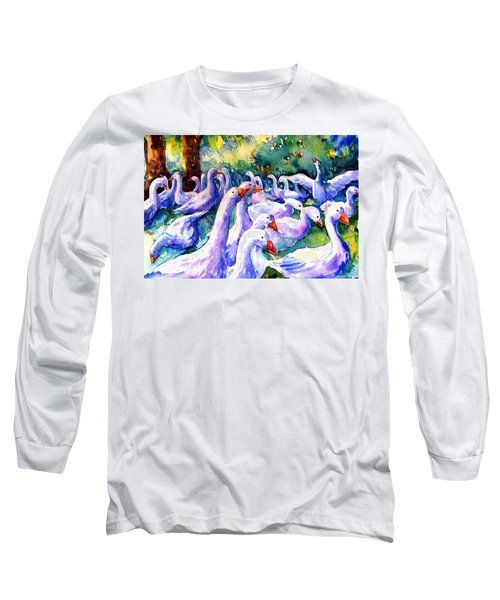 A Gaggle Of Geese Long Sleeve T-Shirt by Trudi Doyle