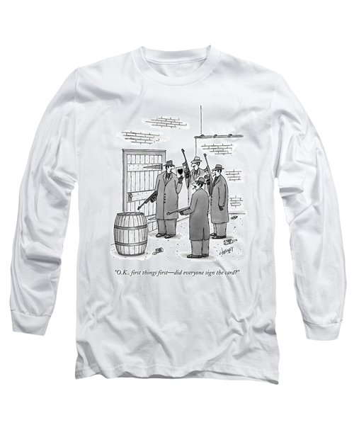 A Group Of Gangsters Stand With Machine Guns Long Sleeve T-Shirt