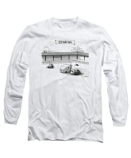 A Guy Is Driving Around A Zen Garden Making Long Sleeve T-Shirt