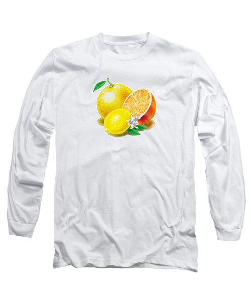 A Happy Citrus Bunch Grapefruit Lemon Orange Long Sleeve T-Shirt by Irina Sztukowski