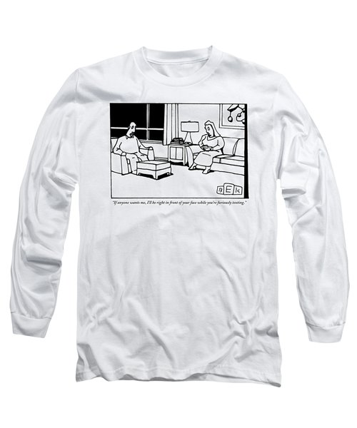 A Husband And Wife Sit In Their Living Room Long Sleeve T-Shirt