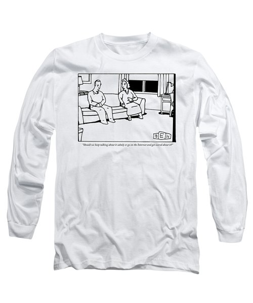 A Husband And Wife Sit On The Sofa Long Sleeve T-Shirt