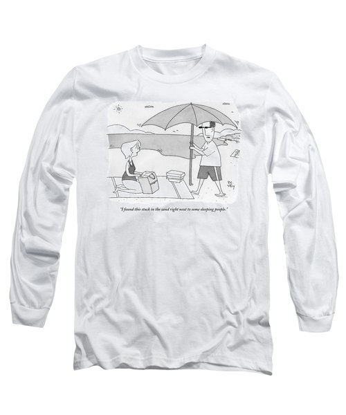 A Husband Returns To His Wife At The Beach Having Long Sleeve T-Shirt