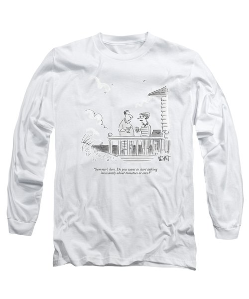 A Husband Talks To A Wife On A Porch Of A Beach Long Sleeve T-Shirt