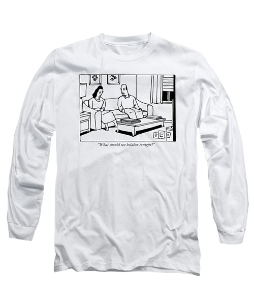 A Husband Talks To His Wife In Their Living Room Long Sleeve T-Shirt
