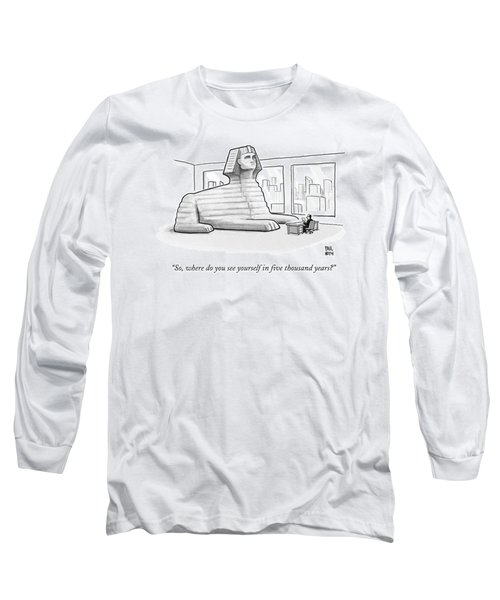 A Large Sphinx Sits In Front Of A Desk Long Sleeve T-Shirt