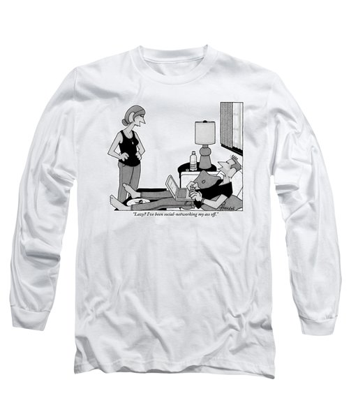 A Lazy Husband On A Couch Speaks Long Sleeve T-Shirt