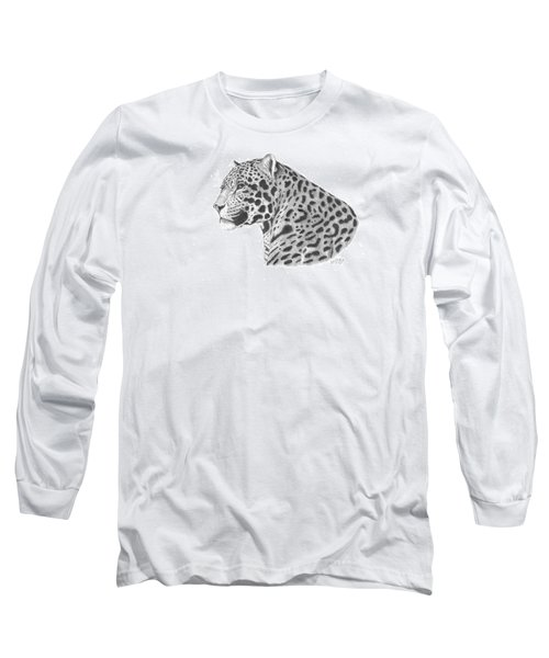 Long Sleeve T-Shirt featuring the drawing A Leopard's Watchful Eye by Patricia Hiltz