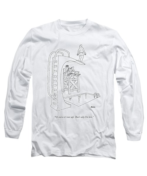 A Lifeguard At A Pool Says To A Man On A High Long Sleeve T-Shirt
