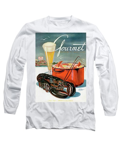 A Lobster And A Lobster Pot With Beer Long Sleeve T-Shirt by Henry Stahlhut