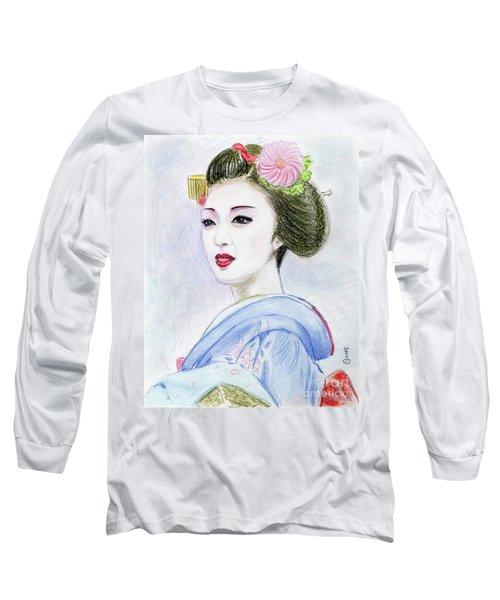 Long Sleeve T-Shirt featuring the drawing A Maiko  Girl by Yoshiko Mishina