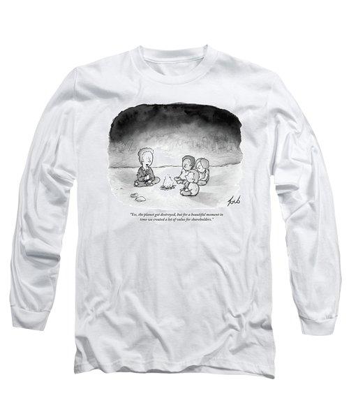 A Man And 3 Children Sit Around A Fire Long Sleeve T-Shirt