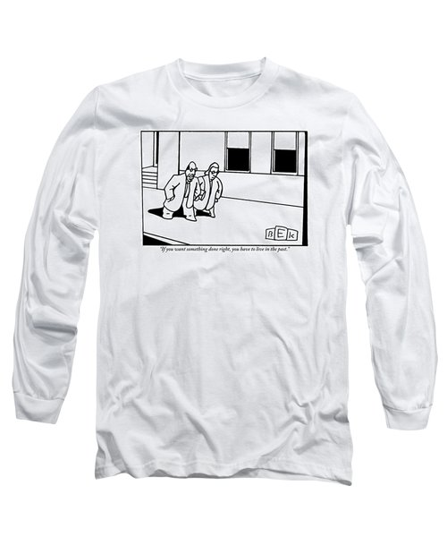 A Man And A Woman Are Seen Speaking And Walking Long Sleeve T-Shirt