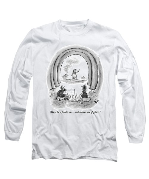 A Man And A Woman In Caveman Attire Sit Next Long Sleeve T-Shirt