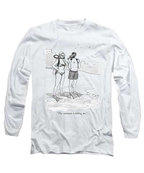 A Man And A Woman In Swimsuits And Diving Gear Long Sleeve T-Shirt