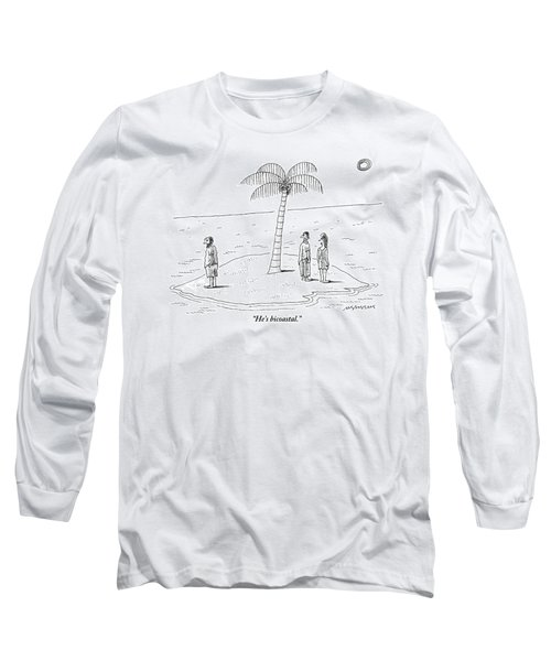 A Man And A Woman Stand On One Coast Of A Tiny Long Sleeve T-Shirt