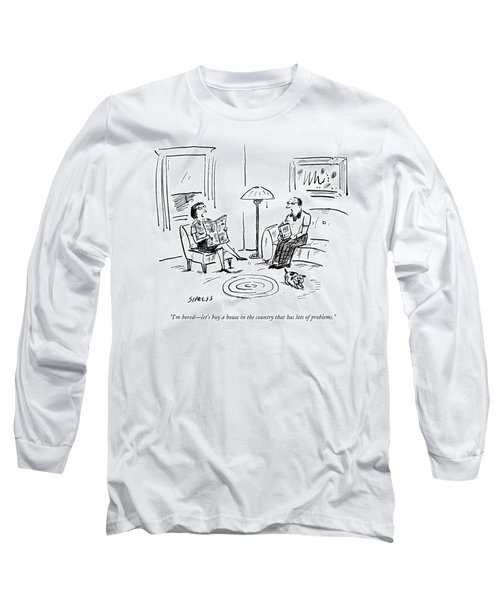 A Man And A Woman Talk In Their Living Room Long Sleeve T-Shirt by David Sipress