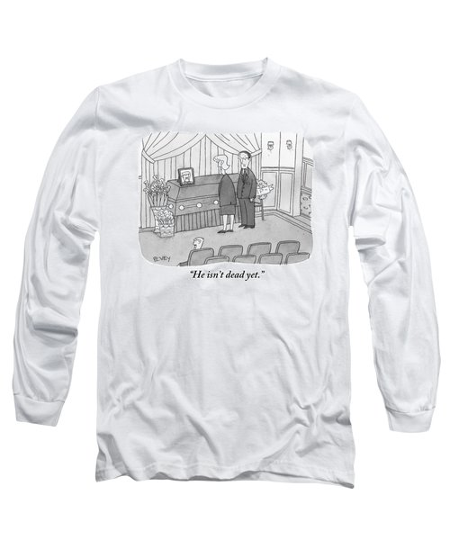 A Man And Woman Are Seen Talking Next To A Coffin Long Sleeve T-Shirt