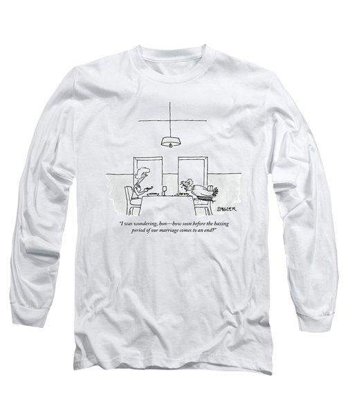 A Man And Woman Eat Dinner.  The Man's Hands Long Sleeve T-Shirt