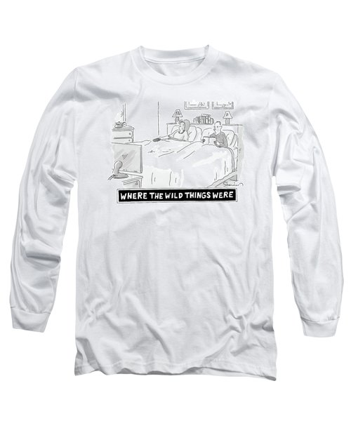 A Man And Woman Lie In Bed. The Man Reads Long Sleeve T-Shirt