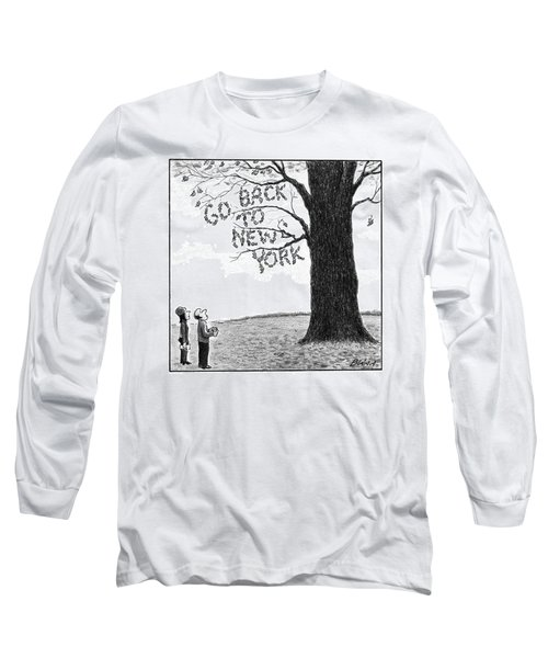 A Man And Woman Look At A Single Tree In A Field Long Sleeve T-Shirt