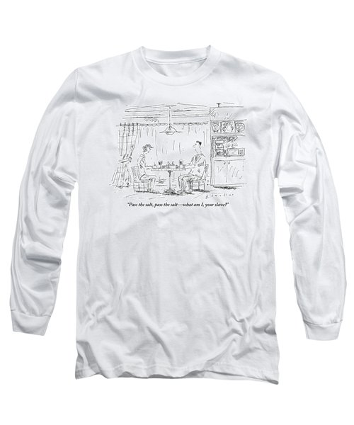 A Man And Woman Sit At A Kitchen Table Together Long Sleeve T-Shirt