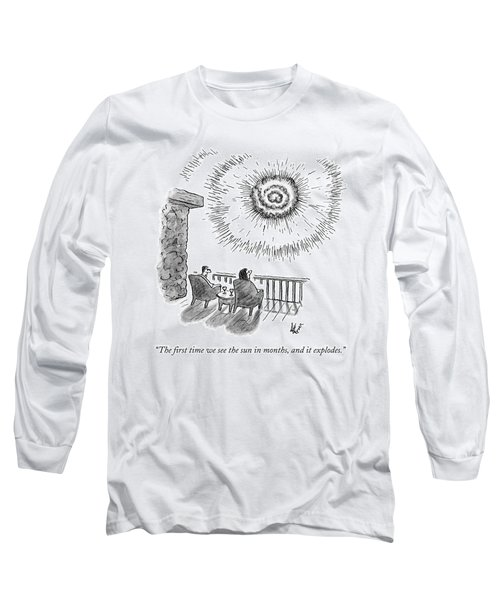 A Man And Woman Sit In Front Of An Exploding Sun Long Sleeve T-Shirt