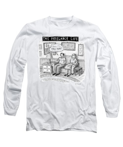 A Man And Woman Sit On A Couch In Their Living Long Sleeve T-Shirt