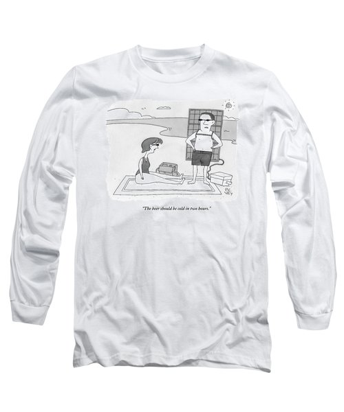 A Man And Woman Stand On A Beach Long Sleeve T-Shirt