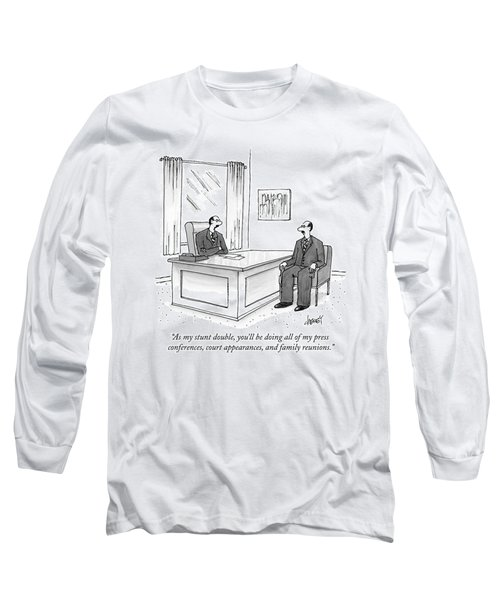 A Man At A Desk Talks To His Apparent Clone Long Sleeve T-Shirt