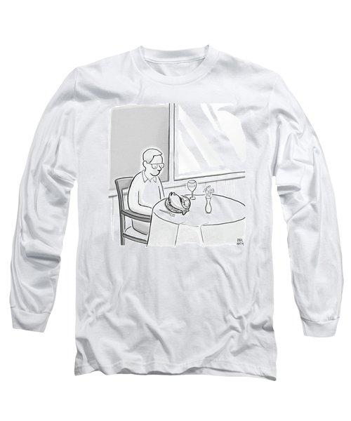 A Man At A Restaurants Looks At The Fish Long Sleeve T-Shirt