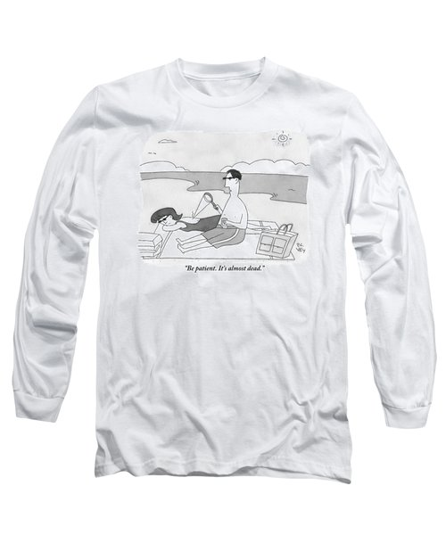 A Man At The Beach Aims A Magnifying Glass Long Sleeve T-Shirt