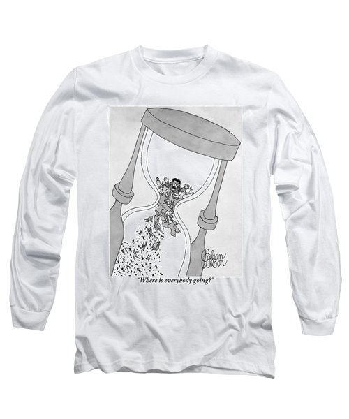 A Man Cries Out From Within A Giant Hourglass Long Sleeve T-Shirt
