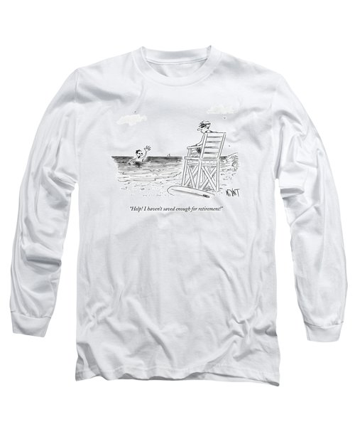 A Man Drowning In The Ocean Waves Towards Long Sleeve T-Shirt