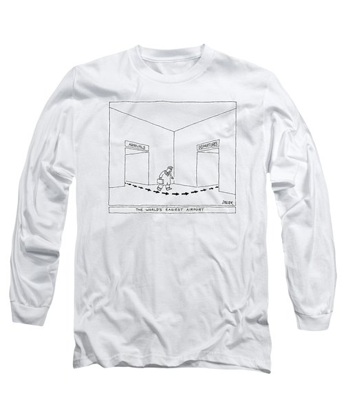 A Man Follows Arrows That Lead From A Doorway Long Sleeve T-Shirt