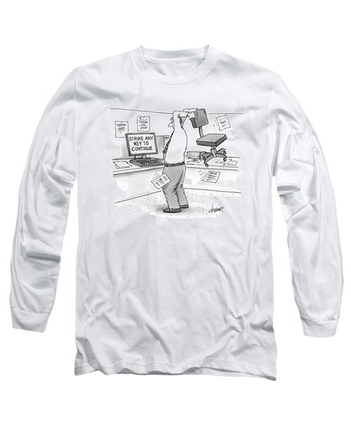 A Man In An Office Cubicle Holds A Chair Long Sleeve T-Shirt