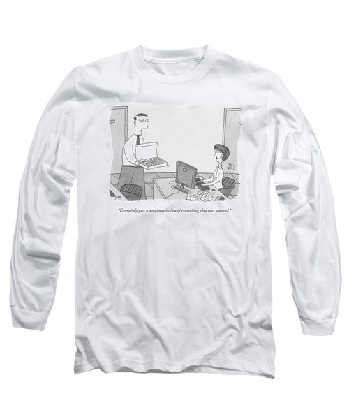 A Man In An Office Hands Out Donuts To Employees Long Sleeve T-Shirt