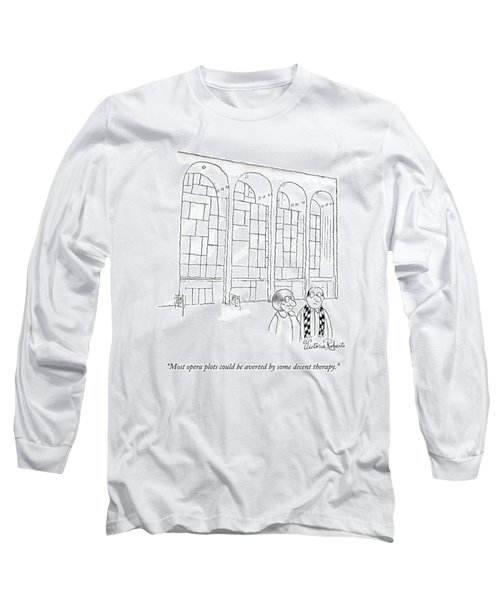 A Man In Glasses Talks To A Woman In Glasses Long Sleeve T-Shirt