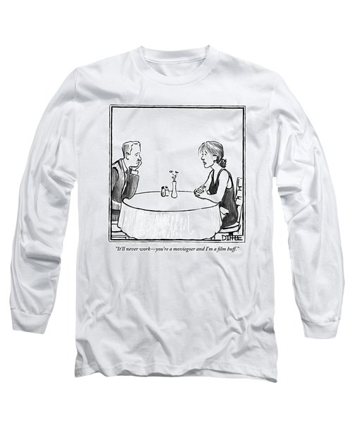 A Man In Woman Sit At A Restaurant Table. The Man Long Sleeve T-Shirt