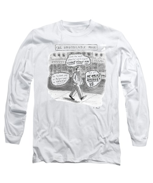 A Man Is Seen Walking Down The Sidewalk With Word Long Sleeve T-Shirt