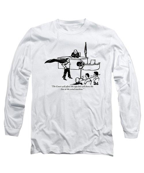 A Man Is Seen Wearing A Cape Next To A Wind Long Sleeve T-Shirt by Drew Dernavich