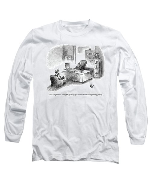 A Man Is Sitting Behind A Desk Talking To A Man Long Sleeve T-Shirt