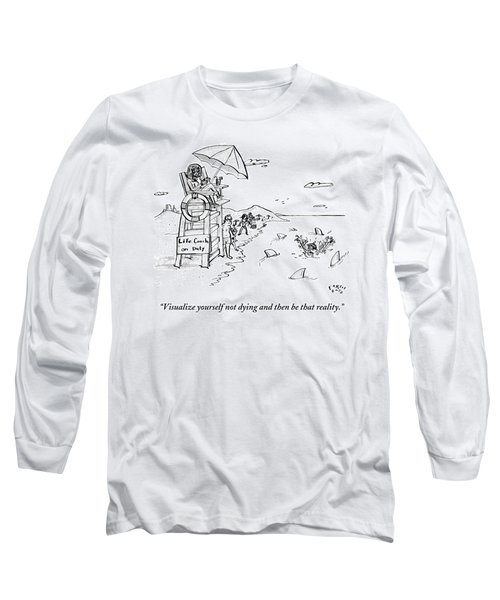A Man Is Surrounded By Sharks While Swimming Long Sleeve T-Shirt