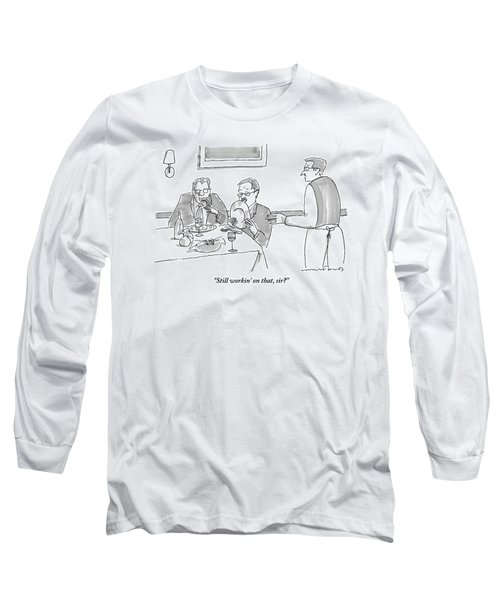 A Man Licks His Plate Clean At A Restaurant Long Sleeve T-Shirt