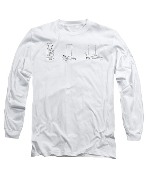 A Man Notices He Is Overweight In A Mirror Long Sleeve T-Shirt