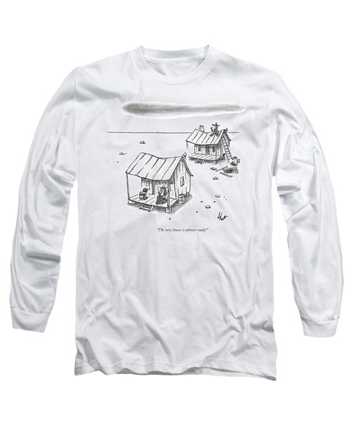 A Man On Top Of A Shack With A Ladder Long Sleeve T-Shirt