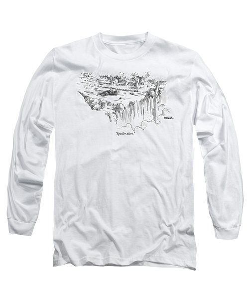 A Man Paddles Backwards In A Small Boat Long Sleeve T-Shirt