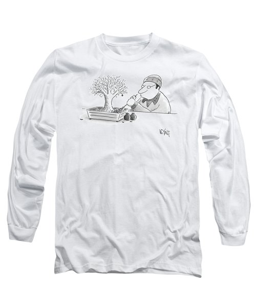 A Man Rakes Leaves In A Tiny Bonsai Tree Long Sleeve T-Shirt