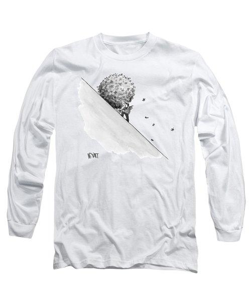 A Man Rakes Leaves Uphill Long Sleeve T-Shirt